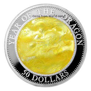Fiji 2012 - 50$ Rok Smoka z Masy Perłowej Lunar - 5 Uncji Srebrna Moneta