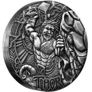 Tuvalu 2016 - 2$ Bogowie Nordyccy Thor - 2 Uncje Srebrna Moneta Wysoki Relief
