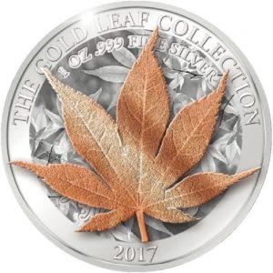 Samoa 2017 - 5$ Seria Złote Liście 3D Japoński Liść Klonu - 1 oz. Srebrna Moneta