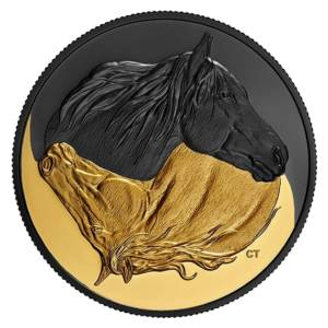 Канада 2020 - 20$ Черный и золотой- Канадская лошадь - 1 унция. Чистая серебряная позолоченная монета