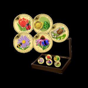 Kanada 2015 - 5 x 250$ Flora i Fauna Zestaw 5 Monet - Szkło Weneckie Murano Glass - 5 x 2 oz. uncji czystego złota