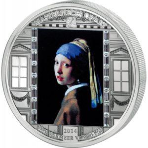 Cook Islands 2014 - 20$ Masterpieces of Art - Dziewczyna z Perłą - Vermeer Van Delft - 3 uncje Srebrna Moneta