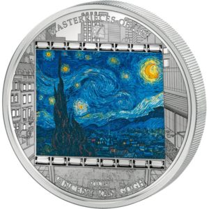 Cook Islands 2014 - 20$ Masterpieces of Art - Gwiaździsta noc - Vincent Van Gogh - 3 uncje Srebrna Moneta