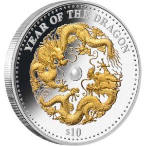 Fidżi 2012 - 10$ Rok Smoka - Biała Perła - 1 oz. Srebrna Moneta