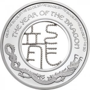 Fidżi 2012 - 1$ Smok Filigranowy Chiński Rok Smoka - Srebrna Moneta