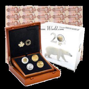 Kanada 2016 - 4 x 2$ 20 Lat Mincerstwa Royal Canadian Mint - 2 Uncje Złota + 2 Uncje Platyny