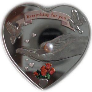 Palau 2008 - 5$ Wszystko Dla Ciebie Moneta z Czerwoną Perłą Serce - Srebrna Moneta