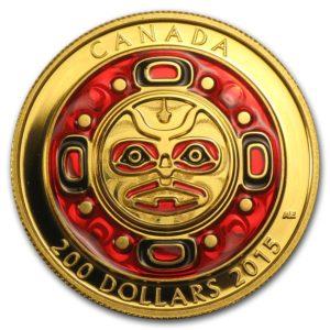 Kanada 2015 - $200 Śpiewająca Maska Księżycowa Wysoki Relief - 1 Uncja Czystego Złota
