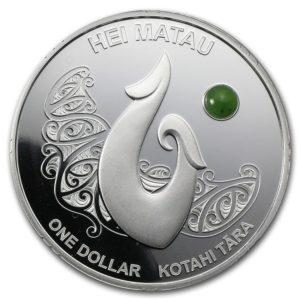 """Nowa Zelandia 2012 - 10$ Māori Art Hei Matau """"Pounamu - Zielony Kamień"""" - 1 oz Srebrna Moneta"""
