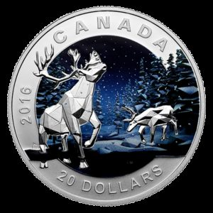 Kanada 2016 - 20$ Geometria w Sztuce Karibu - 1 oz Srebrna Moneta