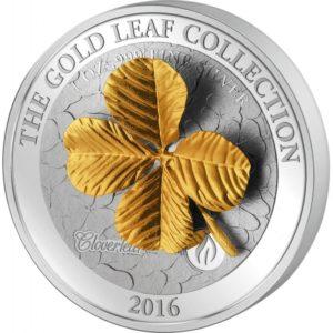 Samoa 2016 - 10$ Seria Złote Liście Klonowe 3D Czterolistna Koniczynka - 1 oz. Srebrna Moneta