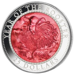 Cook Islands 2017 - 25$ Rok Koguta Masy Perłowej Lunar - 5 Uncji Srebrna Moneta