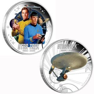 Tuvalu 2016 - 1$ Star Trek Captain James T. Kirk & Spock & U.S.S. Enterprise NCC-1701 - Zestaw 2 Monet