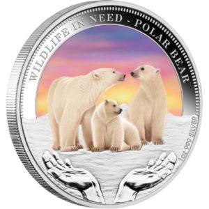 """Tuvalu 2012 - 1$ Dzika Natura w Potrzebie Niedźwiedź Polarny """"3"""" - 1 Uncja Srebrna Moneta"""