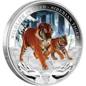 """Tuvalu 2012 - 1$ Dzika Natura w Potrzebie Tygrys Syberyjski """"5"""" - 1 Uncja Srebrna Moneta"""