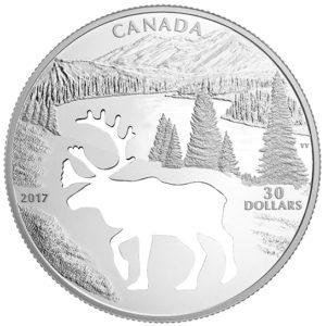 """Kanada 2017 - 30$ Zagrożone Zwierzęta Wycięty Karibu """"1"""" - 1.7 Uncji Srebrna Moneta"""