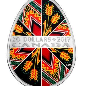 """Kanada 2017 - 20$ Tradycyjna Ukraińska Pisanka Wielkanocna """"2"""" - 1 Uncja Srebrna Moneta"""