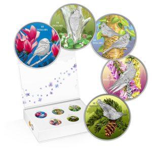 Kanada 2017 - 5 x 10$ Ptaki Pośród Barw Natury 5-monet Subskrypcja - 5 x 1/2 uncji Srebrny Zestaw Monet