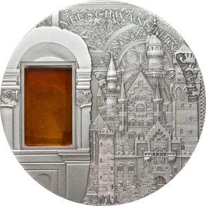 "Palau 2011 - 10$ Mineral Art Bursztyn Zamek Neuschwanstein ""3"" - 2 Uncje Srebrna Moneta"