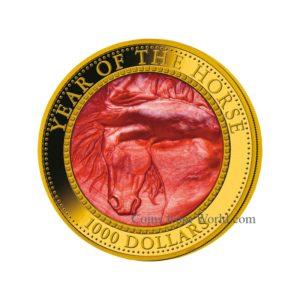 "Cook Islands 2014 - 1000$ Rok Konia Masa Perłowa Lunar ""2"" - 5 Uncji Złota Moneta"