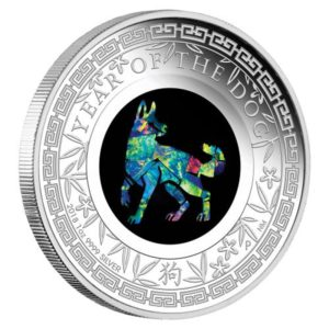 "Australia 2018 - 1$ Rok Psa z Opalem Lunar ""3"" - 1 Uncja Srebrna Moneta"