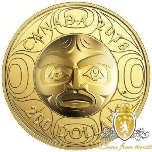 Kanada 2018 - 200$ Maska Księżycowa Przodka - 1 Uncja Czystego Złota Wysoki Relief