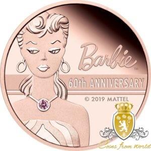 Tuvalu 2019 - 500$ Barbie Lalka 60 Rocznica - 2 Uncje Różowego Złota