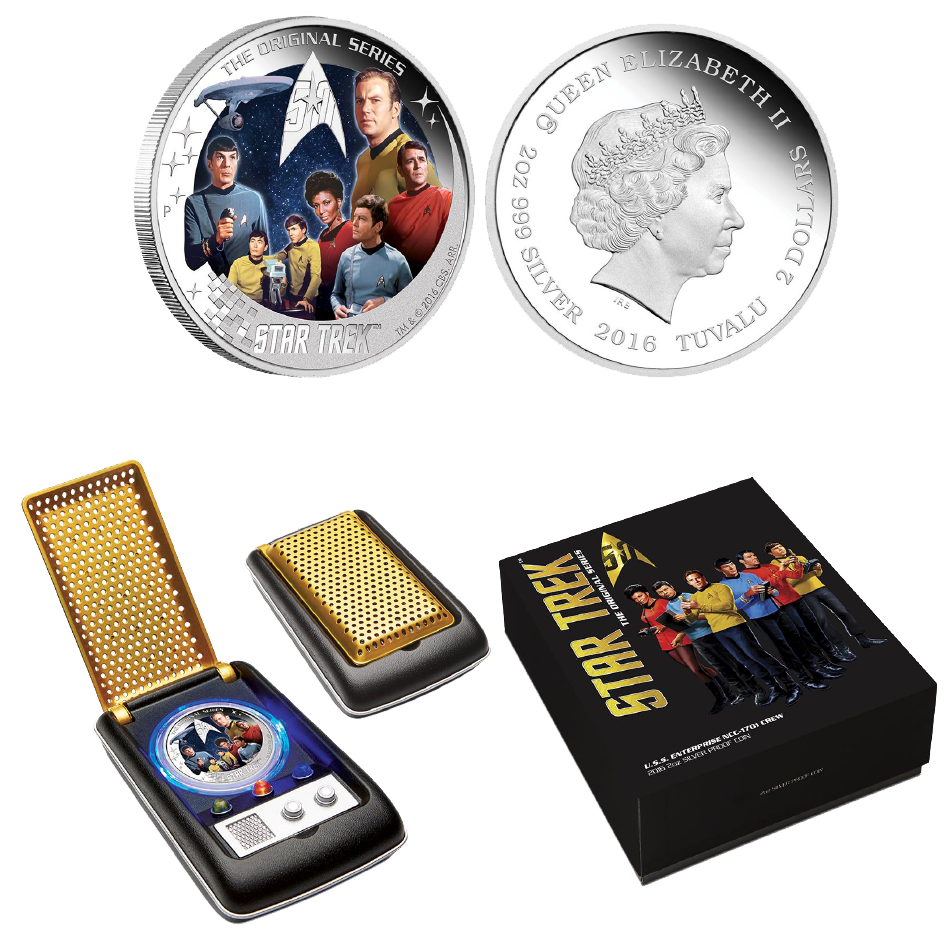 2016 Star Trek Original U.S.S Enterprise NCC-1701 Crew 2oz Silver Proof Coin!