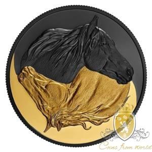Kanada 2020 - 20$ Czerń i Złoto - Kanadyjski Koń - Srebrna Moneta Platerowana Złotem i Rodem 1 Uncja